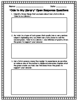 Ode to My Library Worksheet