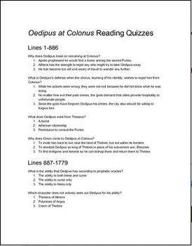 Oedipus at Colonus Reading Quizzes
