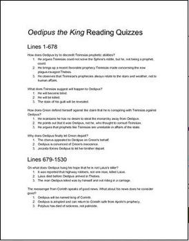 Oedipus the King (Rex/Tyrannus) Reading Quizzes