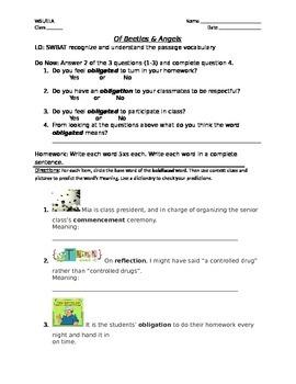 """Of Beetles & Angels"" Vocabulary handout Lvl. 1"