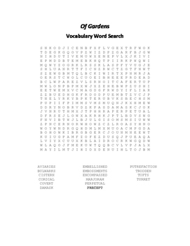 Of Gardens Vocabulary Word Search