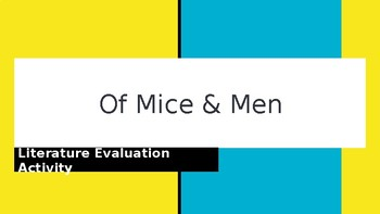 Of Mice And Men Literature  Activity