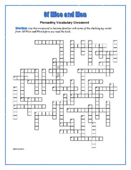 Of Mice and Men: 50-word Prereading Crossword--Use with Bo