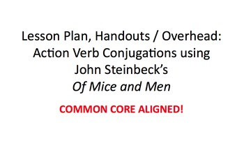 Of Mice and Men Lesson Plan & Handout: Action Verb Conjuga