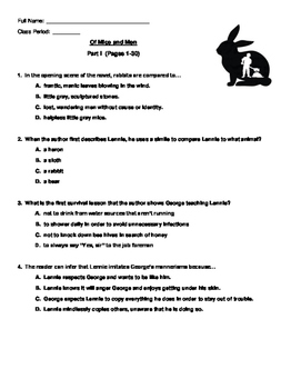 Of Mice and Men Quiz Part One of Three