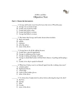 Of Mice and Men objective test
