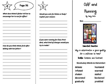 Off and Running Trifold - Journeys 5th Grade Unit 1 Week 3
