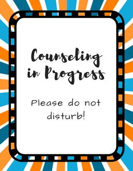 Office Signs - School Counseling Bundle - Blue Orange Sunburst