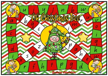 Oh Christmas Tree Alphabet Recognition Board Game - Lowercase