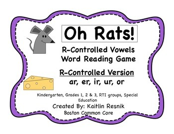 Oh Rats! R-Controlled Vowels Word Reading Game