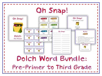 Oh Snap! Sight Word Card Folder Game - 5 Dolch Word Games