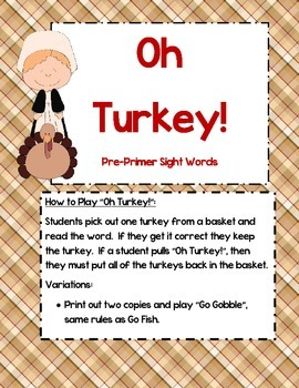 Oh Turkey! - Pre-Primer sight word game
