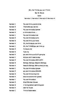 Oh, the THINKS you can Think! Readers Theater Script By: D