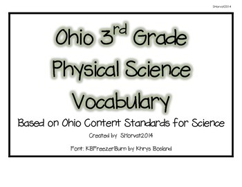 Ohio 3rd Grade Physical Science Vocabulary Words
