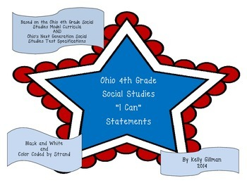 """Ohio 4th Grade """"I Can"""" Statement Posters"""
