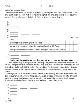 Ohio AIR half portion answer sheet