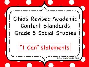 Ohio Academic Content Standards for Social Studies Grade 5