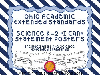 Ohio Academic Extended Standards Science K-2 I Can Stateme