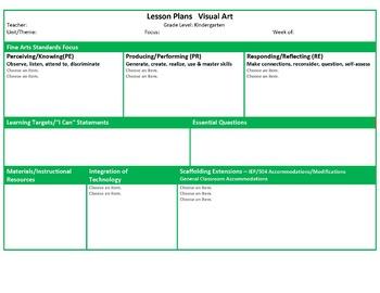 Ohio Kindergarten Music and Visual Art Lesson Plan Templates