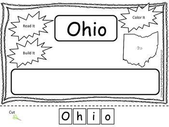 Ohio Read it, Build it, Color it Learn the States preschoo