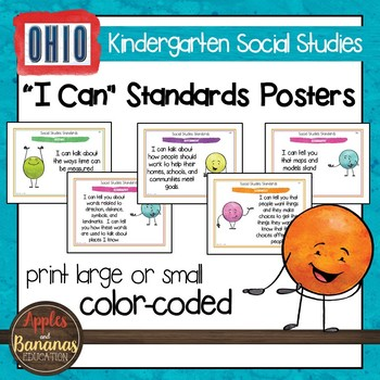 Ohio Social Studies - Kindergarten Standards Posters and S
