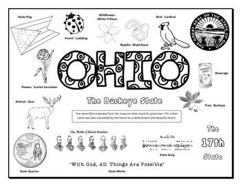 Ohio Symbols Coloring Sheet
