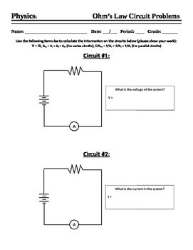 Ohm's Law - Worksheet - Calculations