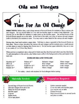 Oils & Vinegars Game / Activity