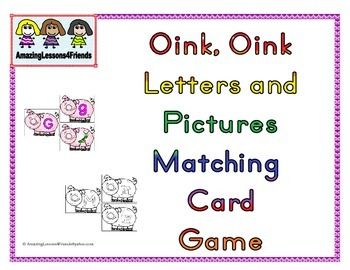 Oink Oink Letter and Picture Matching Card game