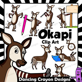Okapi Clip Art with Signs - Letter O in Alphabet Animal Series