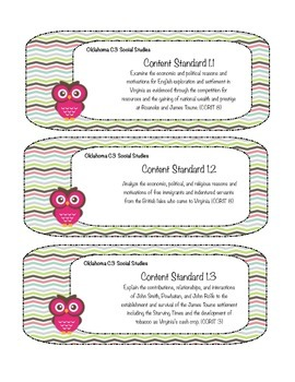 Oklahoma C3 5th Grade Social Studies Standards Owl Labels