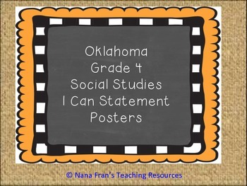 Oklahoma Grade 4 Social Studies I Can Statement Posters Bu
