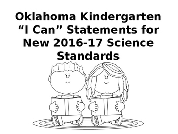 "Oklahoma Kindergarten ""I Can"" Statetements for Science Standards"