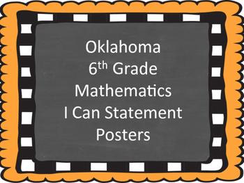 Oklahoma Sixth Grade Math I Can Statements (Burlap and Cha