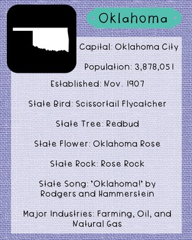 Oklahoma State Facts and Symbols Class Decor, Government,