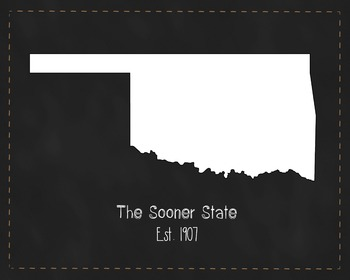 Oklahoma State Map Class Decor, Government, Geography, Bla