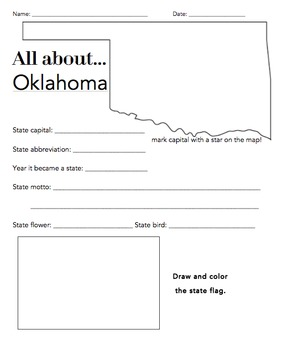 Oklahoma State Worksheet: Elementary Version