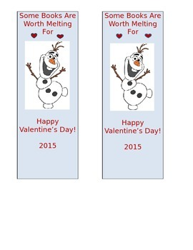 Olaf Valentine's Day Bookmark