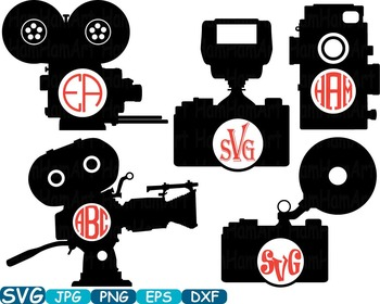 Old Camera Circle Cutting SVG Monogram Clipart Wedding Pho
