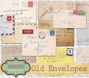 Old Envelopes Clipart, Vintage Handwritten Letters Clip art
