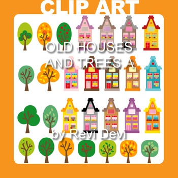 Old Houses and Trees A Clip art 13027 (teacher resource)