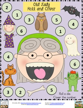 Old Lady and the Bat- 3 Roll and Cover Games {FREE}