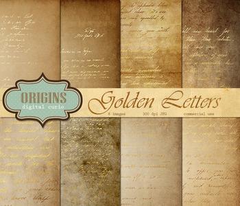 Old Letters Scrapbook Paper Vintage Antique Gold Backgrounds