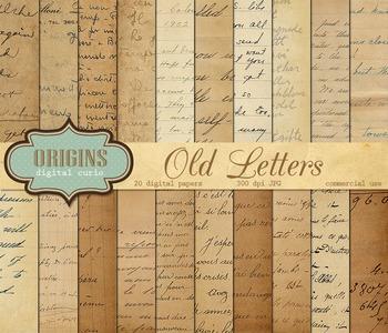 Old Letters Vintage Digital Scrapbook Paper Textures