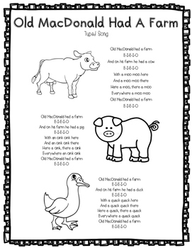 Old MacDonald Typed Song