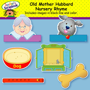 Old Mother Hubbard Nursery Rhyme Headbands & Sentence Strips