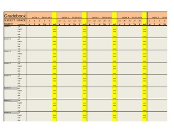 Old School Gradebook Template- Revised File Coming soon