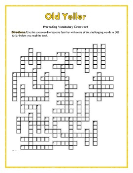 Old Yeller: 50-word Prereading Crossword—Use with Bookmarks Plus!