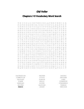 Old Yeller Chapters 7-9 Vocabulary Word Search- Gipson