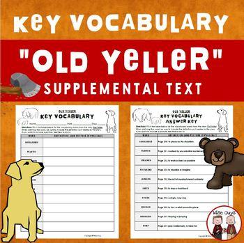 Old Yeller Key Vocabulary Journeys Supplemental Resource